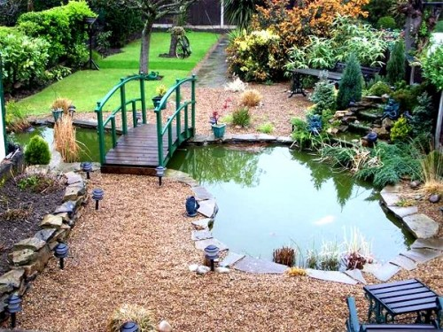 Ornamental garden pond fitted with safadeck pond grid for Ornamental fish garden ponds