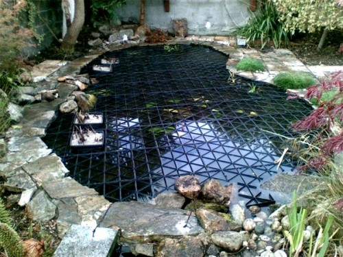 Pool with crazy paving fitted with safadeck pond grid for Garden pond safety covers
